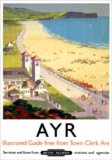 Ayr. Vintage British Railways Travel Poster by Ellis Silas